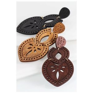 Wood Filigree Triple Marquee Laser Cut Earrings
